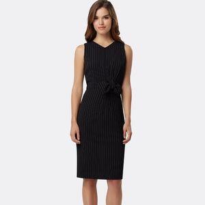 Tahari ASL Black Pinstriped Side-Bow Sheath Dress